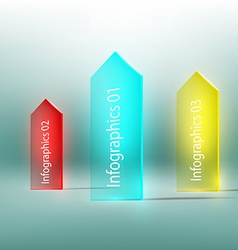 Glass arrow with text vector