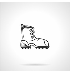 Black line hiking boot flat icon vector