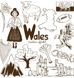 Collection of wales icons vector