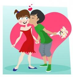 Cute kissing couple vector