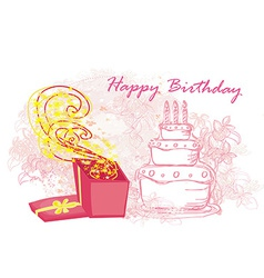 Happy birthday - abstract floral greeting card vector