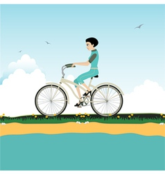 Women riding a bicycle vector