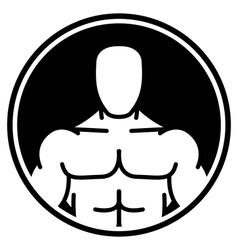 Bodybuilder symbol in black circle vector