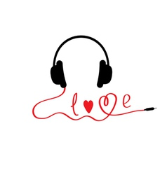 Black and red headphones white background love vector