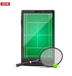 Smartphone with american tennis ball and field on vector