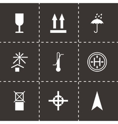 Black marking of cargo icons set vector