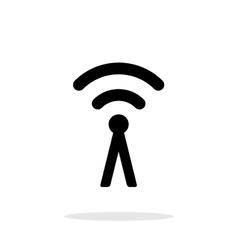 Antenna broadcasting radio signal icon on white vector