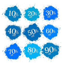 Blue discount labels stains splashes vector