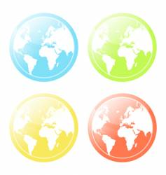 World map glossy icons set vector