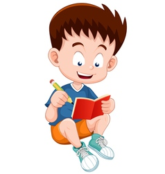 Boy reading open book vector
