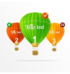 Text boxes infographics and air ballons vector