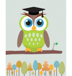 Owl with mortar board hat vector