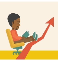 Black guy relaxing in growing business vector