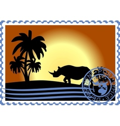 Postage stamp savannah vector