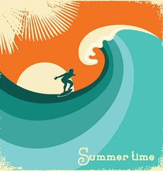 Surfer and sea waveretro poster vector
