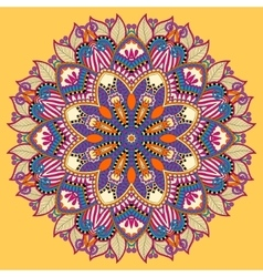 Mandala yellow circle decorative spiritual indian vector