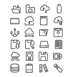 Data storage line icons 4 vector