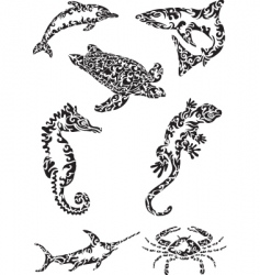 Sea creatures vector