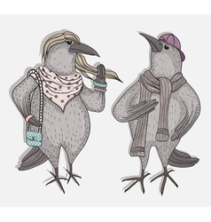 Cute cartoon hipster crows vector