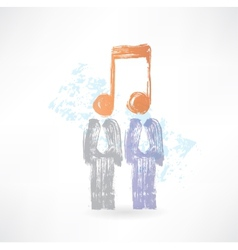 Two men with notes instead of heads vector