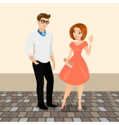 Young man and woman meet in the street to have a vector