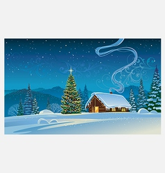 Forest house with the christmas tree vector