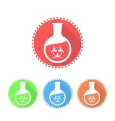 Icons of flat-bottomed flask with toxic solution vector