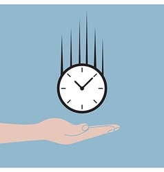 Hand holding time clock falling vector