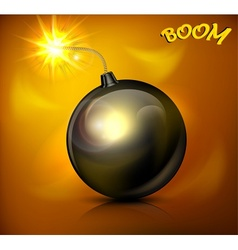Bomb with burning cord vector