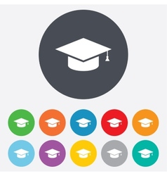 Graduation cap sign icon education symbol vector