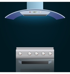 Modern oven and extractor on a dark background vector