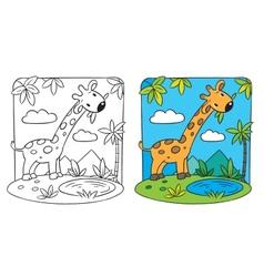 Giraffe coloring book vector