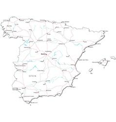Spain black white map vector
