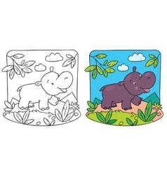 Little hippo coloring book vector