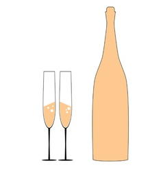 Bottle and two glass vector