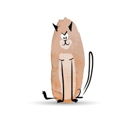 Funny cat watercolor sketch for your design vector