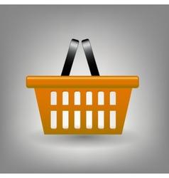 Orange shopping basket icon vector