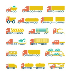 Set flat icons of trucks trailers and vehicles vector