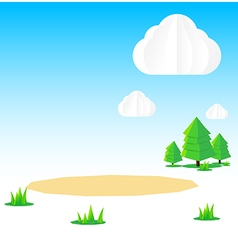Nature background cloud sky field tree origami and vector