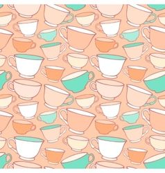 Seamless pattern with decorative cups vector