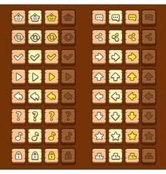 Wooden game icons buttons icons interface ui vector