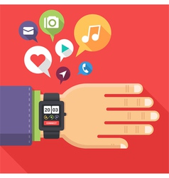 Flat hand watch vector