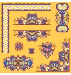 Yellow set of paisley floral design elements for vector