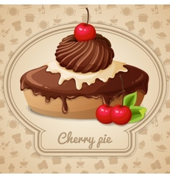 Cherry pie emblem vector