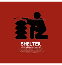 Sandbag shelter with gunman vector