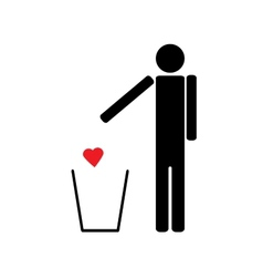 Man throws a red heart in the trash vector