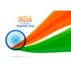 Indian flag design made in wave style vector