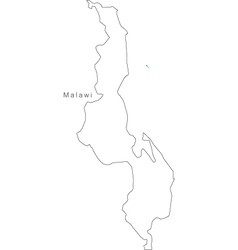 Black white malawi outline map vector
