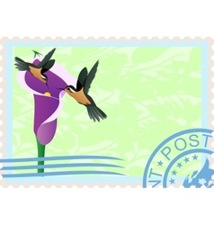 Postage stamps with hummingbirds vector