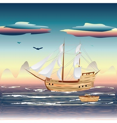 Sailing ship on the sea vector